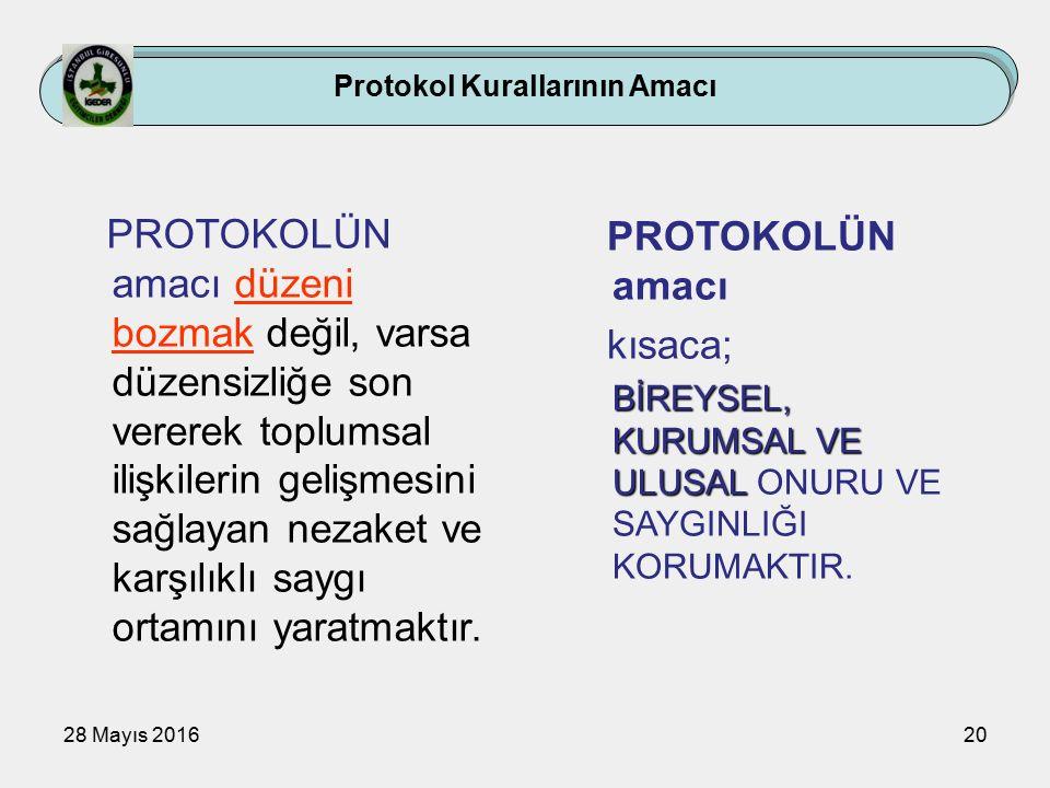 28 Mayıs 201620 Protokol Kurallarının Amacı PROTOKOLÜN amacı düzeni bozmak değil, varsa düzensizliğe son vererek toplumsal ilişkilerin gelişmesini sağlayan nezaket ve karşılıklı saygı ortamını yaratmaktır.