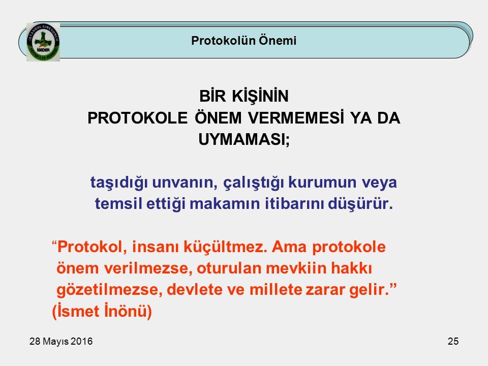 28 Mayıs 201625 Protokolün Önemi BİR KİŞİNİN PROTOKOLE ÖNEM VERMEMESİ YA DA UYMAMASI; taşıdığı unvanın, çalıştığı kurumun veya temsil ettiği makamın itibarını düşürür.