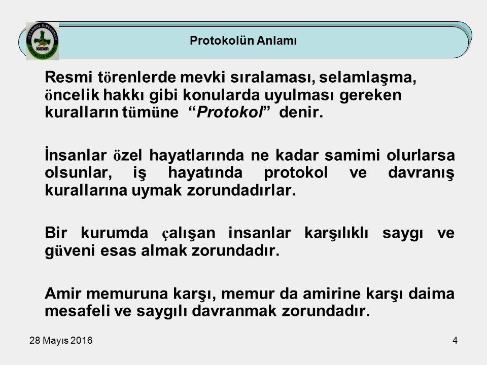 28 Mayıs 20164 Protokolün Anlamı Resmi t ö renlerde mevki sıralaması, selamlaşma, ö ncelik hakkı gibi konularda uyulması gereken kuralların t ü m ü ne Protokol denir.