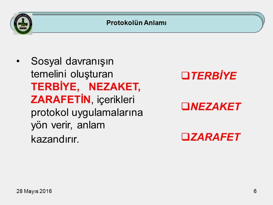 28 Mayıs 20166 Protokolün Anlamı Sosyal davranışın temelini oluşturan TERBİYE, NEZAKET, ZARAFETİN, içerikleri protokol uygulamalarına yön verir, anlam kazandırır.