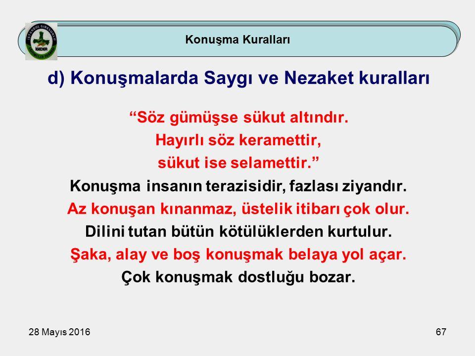 28 Mayıs 201667 Konuşma Kuralları d) Konuşmalarda Saygı ve Nezaket kuralları Söz gümüşse sükut altındır.