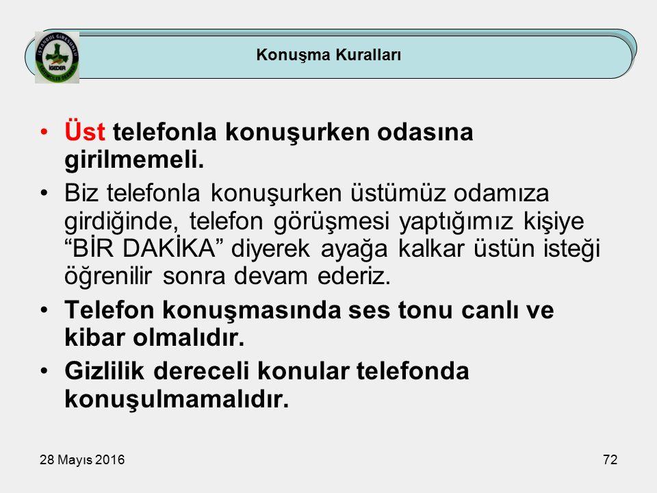 28 Mayıs 201672 Konuşma Kuralları Üst telefonla konuşurken odasına girilmemeli.