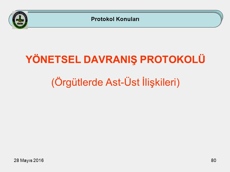 28 Mayıs 201680 Protokol Konuları YÖNETSEL DAVRANIŞ PROTOKOLÜ (Örgütlerde Ast-Üst İlişkileri)