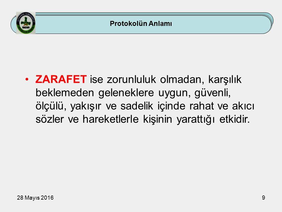 28 Mayıs 20169 Protokolün Anlamı ZARAFET ise zorunluluk olmadan, karşılık beklemeden geleneklere uygun, güvenli, ölçülü, yakışır ve sadelik içinde rahat ve akıcı sözler ve hareketlerle kişinin yarattığı etkidir.