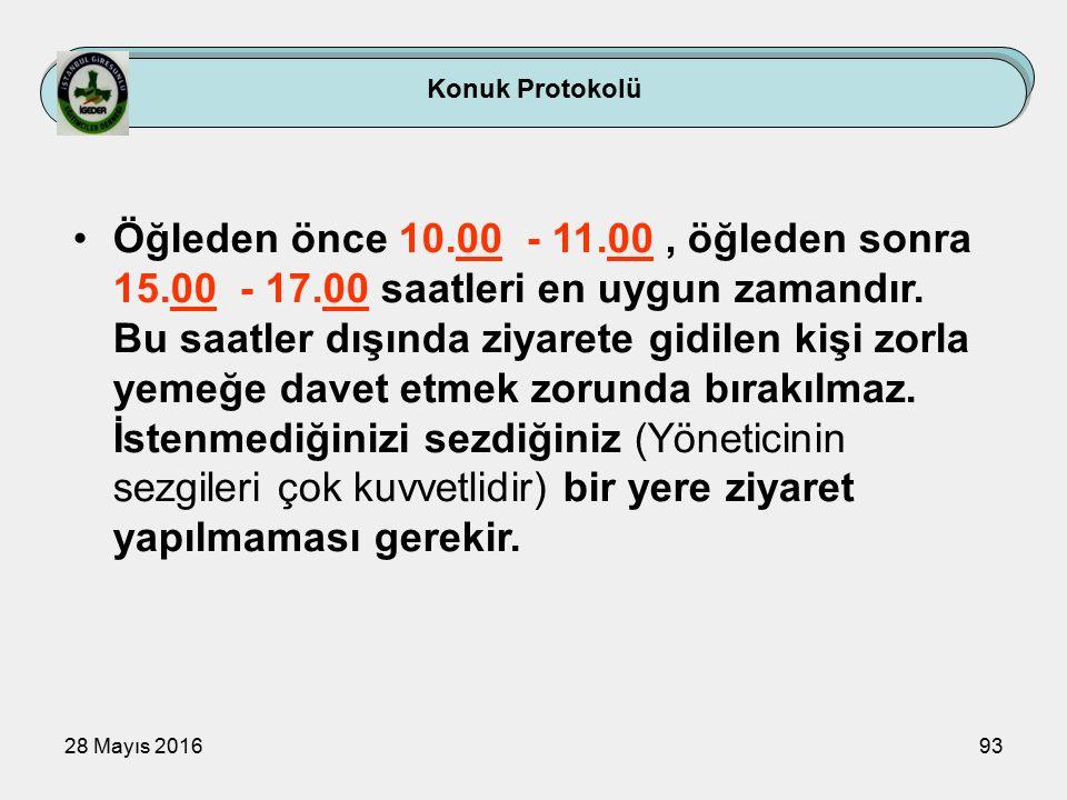 28 Mayıs 201693 Konuk Protokolü Öğleden önce 10.00 - 11.00, öğleden sonra 15.00 - 17.00 saatleri en uygun zamandır.