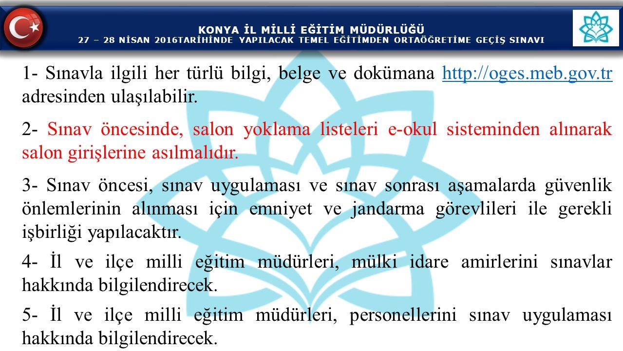 KONYA İL MİLLİ EĞİTİM MÜDÜRLÜĞÜ 27 – 28 NİSAN 2016TARİHİNDE YAPILACAK TEMEL EĞİTİMDEN ORTAÖĞRETİME GEÇİŞ SINAVI KONYA İL MİLLİ EĞİTİM MÜDÜRLÜĞÜ 27 – 28 NİSAN 2016TARİHİNDE YAPILACAK TEMEL EĞİTİMDEN ORTAÖĞRETİME GEÇİŞ SINAVI