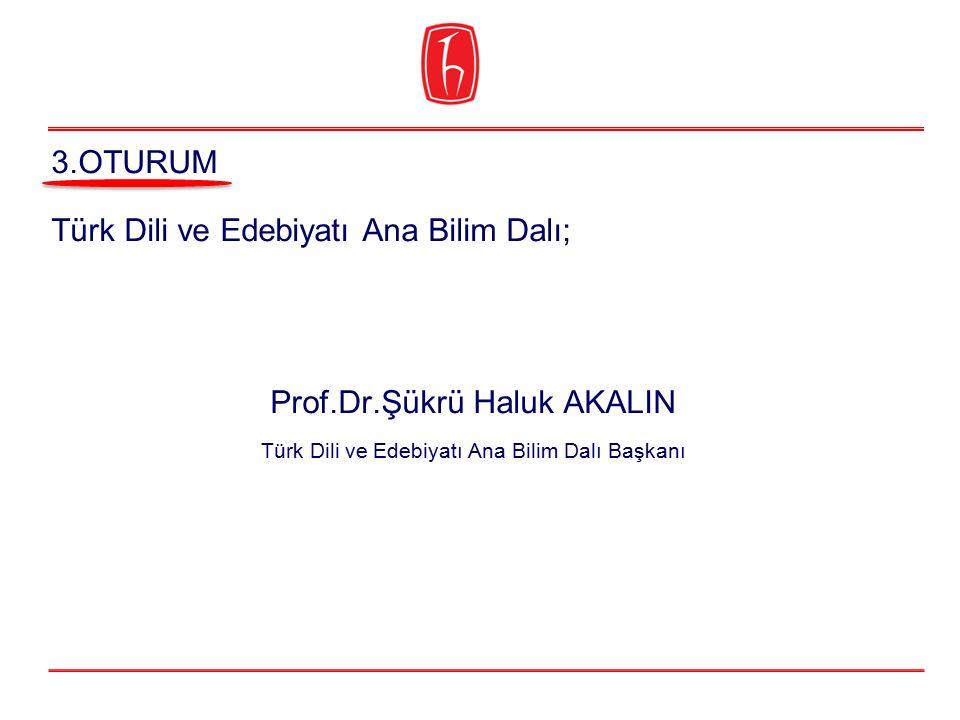 Türk Dili ve Edebiyatı Ana Bilim Dalı; Prof.Dr.Şükrü Haluk AKALIN Türk Dili ve Edebiyatı Ana Bilim Dalı Başkanı 3.OTURUM