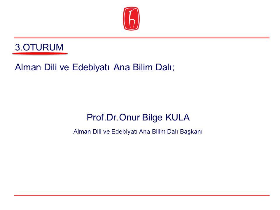 Alman Dili ve Edebiyatı Ana Bilim Dalı; Prof.Dr.Onur Bilge KULA Alman Dili ve Edebiyatı Ana Bilim Dalı Başkanı 3.OTURUM
