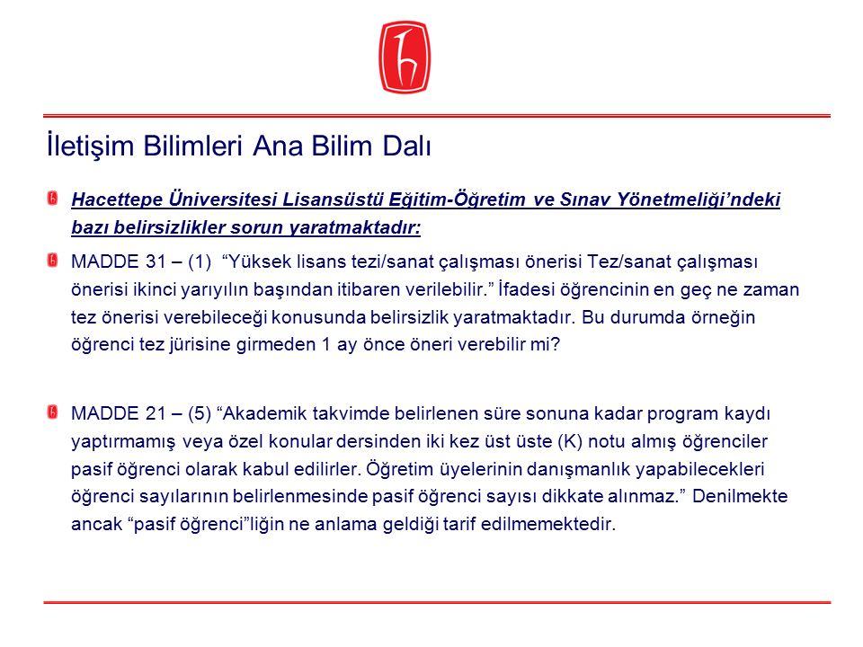 """Hacettepe Üniversitesi Lisansüstü Eğitim-Öğretim ve Sınav Yönetmeliği'ndeki bazı belirsizlikler sorun yaratmaktadır: MADDE 31 – (1) """"Yüksek lisans tez"""