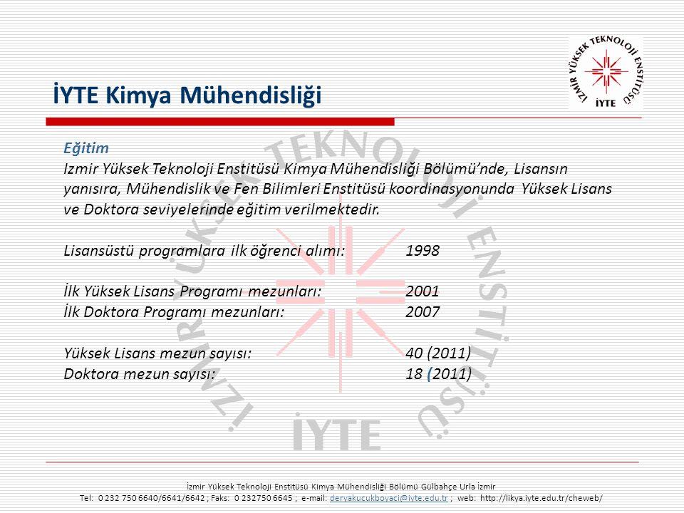 İzmir Yüksek Teknoloji Enstitüsü Kimya Mühendisliği Bölümü Gülbahçe Urla İzmir Tel: 0 232 750 6640/6641/6642 ; Faks: 0 232750 6645 ; e-mail: deryakucukboyaci@iyte.edu.tr ; web: http://likya.iyte.edu.tr/cheweb/deryakucukboyaci@iyte.edu.tr Eğitim Izmir Yüksek Teknoloji Enstitüsü Kimya Mühendisliği Bölümü'nde, Lisansın yanısıra, Mühendislik ve Fen Bilimleri Enstitüsü koordinasyonunda Yüksek Lisans ve Doktora seviyelerinde eğitim verilmektedir.