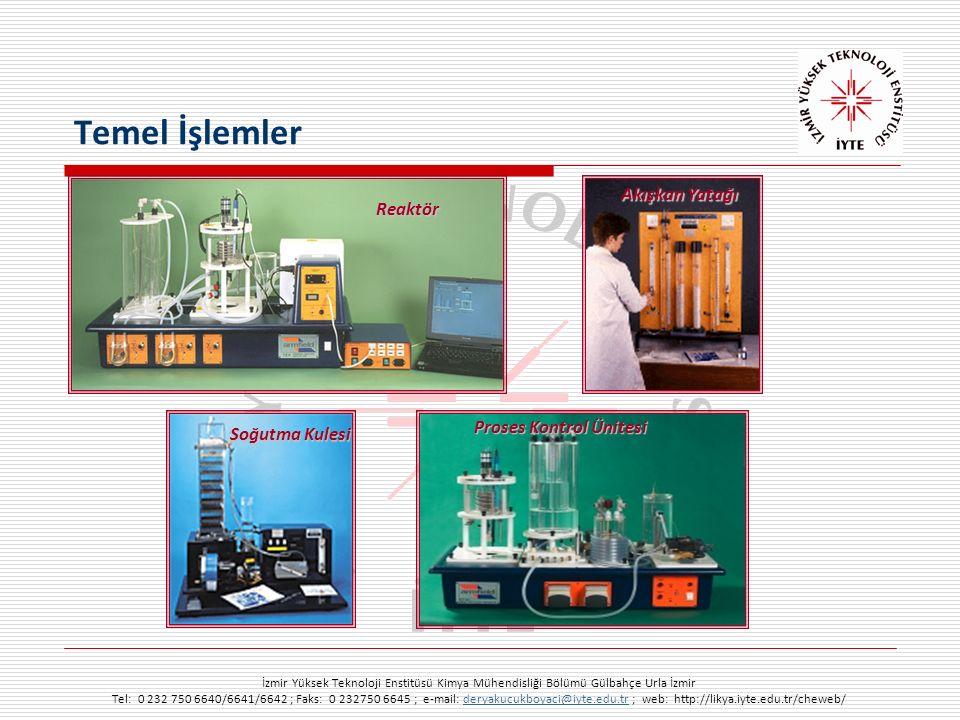 İzmir Yüksek Teknoloji Enstitüsü Kimya Mühendisliği Bölümü Gülbahçe Urla İzmir Tel: 0 232 750 6640/6641/6642 ; Faks: 0 232750 6645 ; e-mail: deryakucukboyaci@iyte.edu.tr ; web: http://likya.iyte.edu.tr/cheweb/deryakucukboyaci@iyte.edu.tr Temel İşlemler Proses Kontrol Ünitesi Reaktör Akışkan Yatağı Soğutma Kulesi