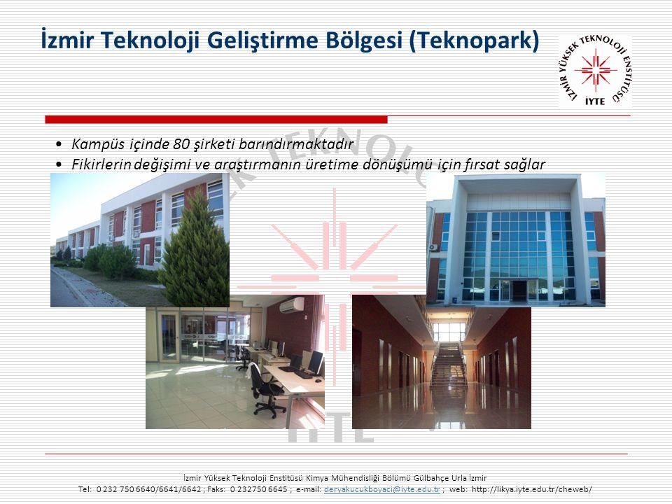 İzmir Yüksek Teknoloji Enstitüsü Kimya Mühendisliği Bölümü Gülbahçe Urla İzmir Tel: 0 232 750 6640/6641/6642 ; Faks: 0 232750 6645 ; e-mail: deryakucukboyaci@iyte.edu.tr ; web: http://likya.iyte.edu.tr/cheweb/deryakucukboyaci@iyte.edu.tr Kampüs içinde 80 şirketi barındırmaktadır Fikirlerin değişimi ve araştırmanın üretime dönüşümü için fırsat sağlar İzmir Teknoloji Geliştirme Bölgesi (Teknopark)