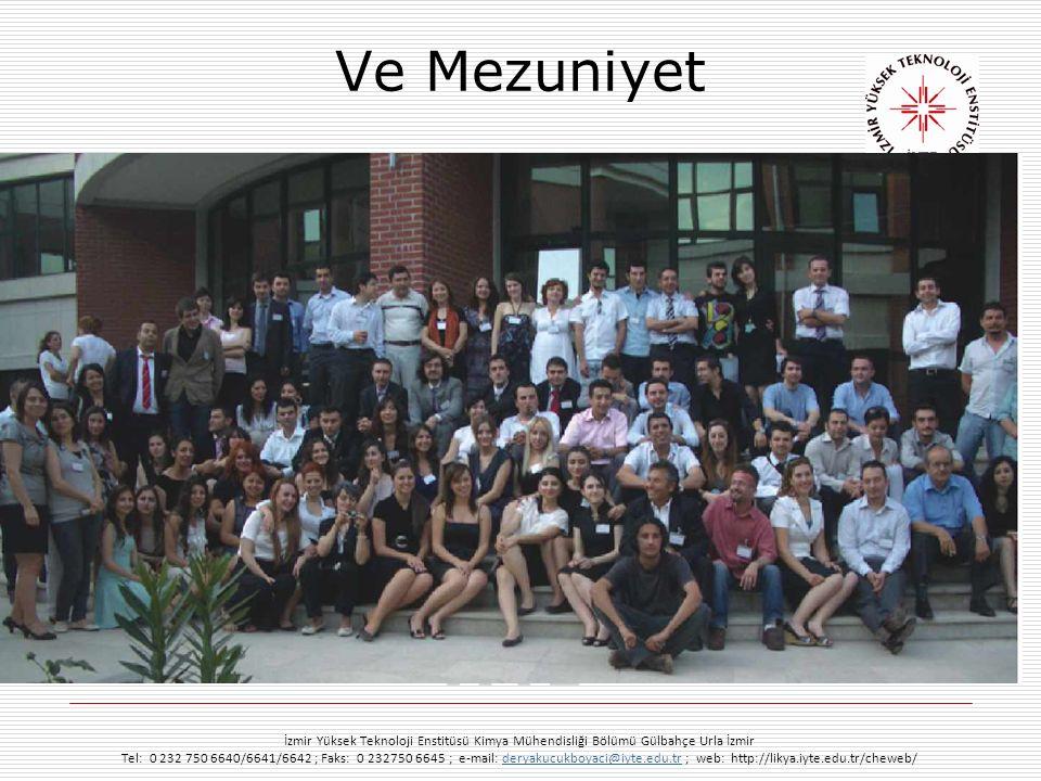 Ve Mezuniyet İzmir Yüksek Teknoloji Enstitüsü Kimya Mühendisliği Bölümü Gülbahçe Urla İzmir Tel: 0 232 750 6640/6641/6642 ; Faks: 0 232750 6645 ; e-ma