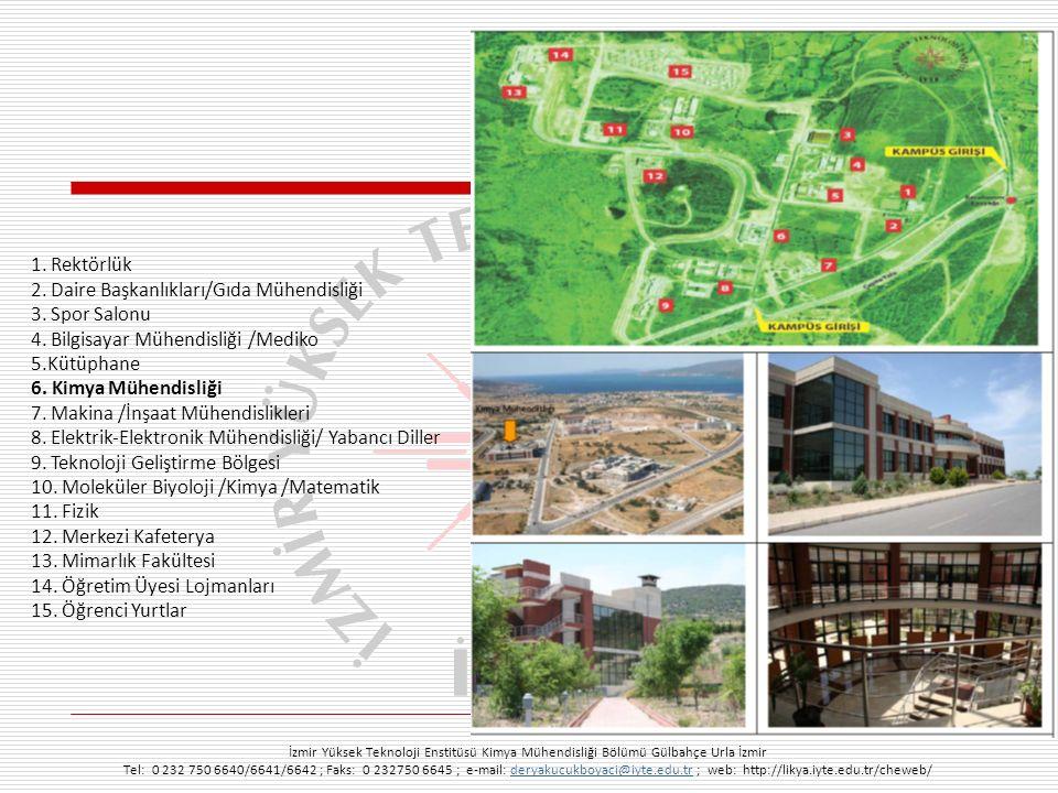 İzmir Yüksek Teknoloji Enstitüsü Kimya Mühendisliği Bölümü Gülbahçe Urla İzmir Tel: 0 232 750 6640/6641/6642 ; Faks: 0 232750 6645 ; e-mail: deryakucukboyaci@iyte.edu.tr ; web: http://likya.iyte.edu.tr/cheweb/deryakucukboyaci@iyte.edu.tr Bölümün Gelişimi Alan, m 2 1995-20002000-20032003-20052005-20062006-2010 Kütüphane100 75 6,600 Öğretim Üye Ofisi*1019 20 Laboratuvars200734 2,747 Bölüm Toplamı3001,100 10,000 * m 2 /öğretim üyesi