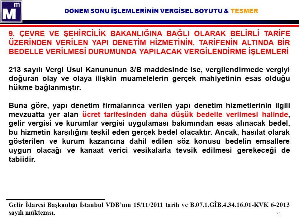 DÖNEM SONU İŞLEMLERİNİN VERGİSEL BOYUTU & TESMER Gelir İdaresi Başkanlığı İstanbul VDB'nın 15/11/2011 tarih ve B.07.1.GİB.4.34.16.01-KVK 6-2013 sayılı