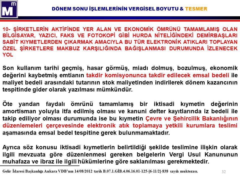 DÖNEM SONU İŞLEMLERİNİN VERGİSEL BOYUTU & TESMER Gelir İdaresi Başkanlığı Ankara VDB'nın 14/08/2012 tarih B.07.1.GİB.4.06.16.01-125-[6-11/2]-838 sayıl