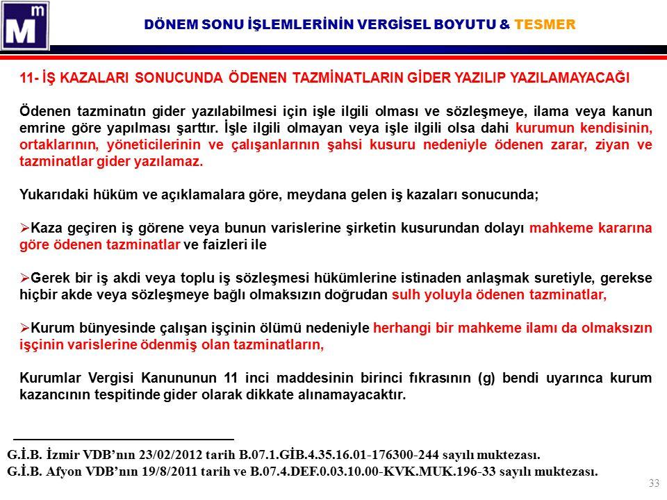 DÖNEM SONU İŞLEMLERİNİN VERGİSEL BOYUTU & TESMER G.İ.B. İzmir VDB'nın 23/02/2012 tarih B.07.1.GİB.4.35.16.01-176300-244 sayılı muktezası. G.İ.B. Afyon