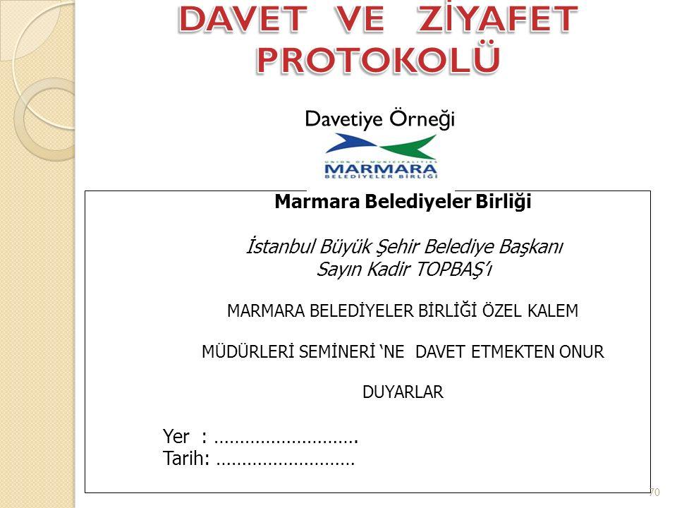 Davetiye Örne ğ i Marmara Belediyeler Birliği İstanbul Büyük Şehir Belediye Başkanı Sayın Kadir TOPBAŞ'ı MARMARA BELEDİYELER BİRLİĞİ ÖZEL KALEM MÜDÜRLERİ SEMİNERİ 'NE DAVET ETMEKTEN ONUR DUYARLAR Yer : ……………………….