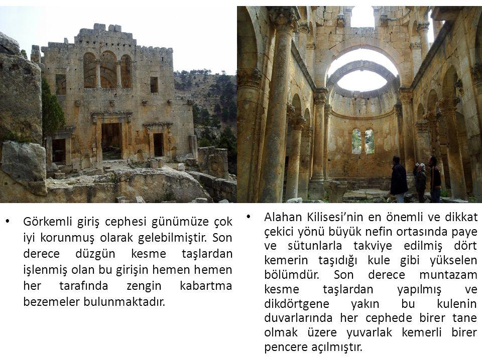 Alahan Kilisesi'nin en önemli ve dikkat çekici yönü büyük nefin ortasında paye ve sütunlarla takviye edilmiş dört kemerin taşıdığı kule gibi yükselen bölümdür.