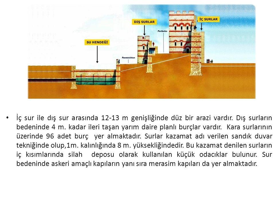 İç sur ile dış sur arasında 12-13 m genişliğinde düz bir arazi vardır.
