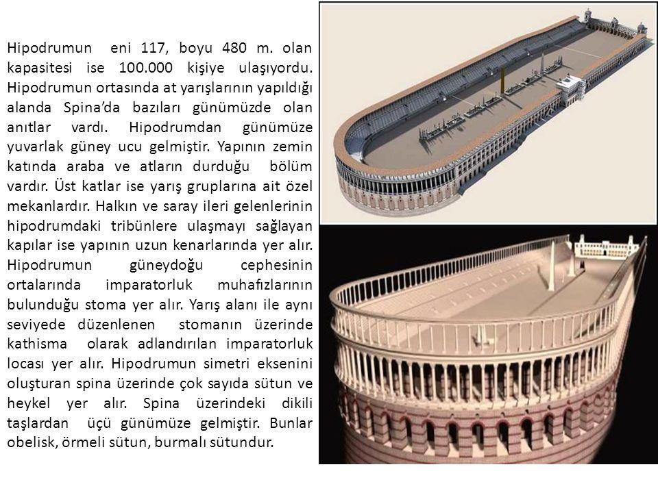Hipodrumun eni 117, boyu 480 m.olan kapasitesi ise 100.000 kişiye ulaşıyordu.