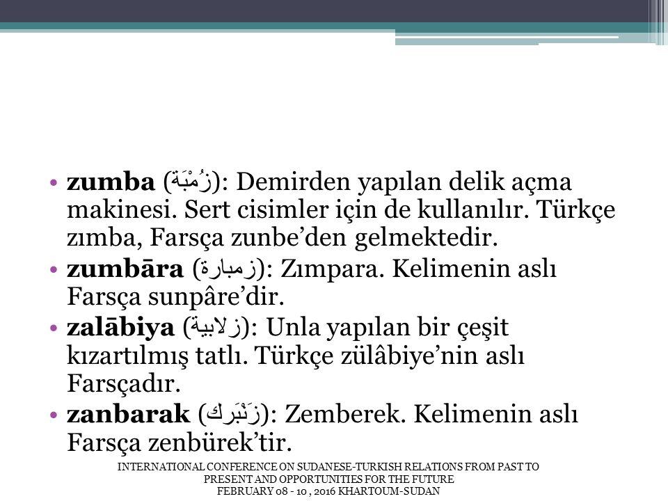 zumba ( زُمْبَة ): Demirden yapılan delik açma makinesi.