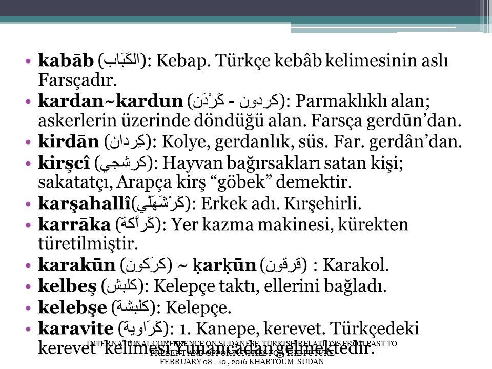 kabāb ( الكَبَاب ): Kebap. Türkçe kebâb kelimesinin aslı Farsçadır.