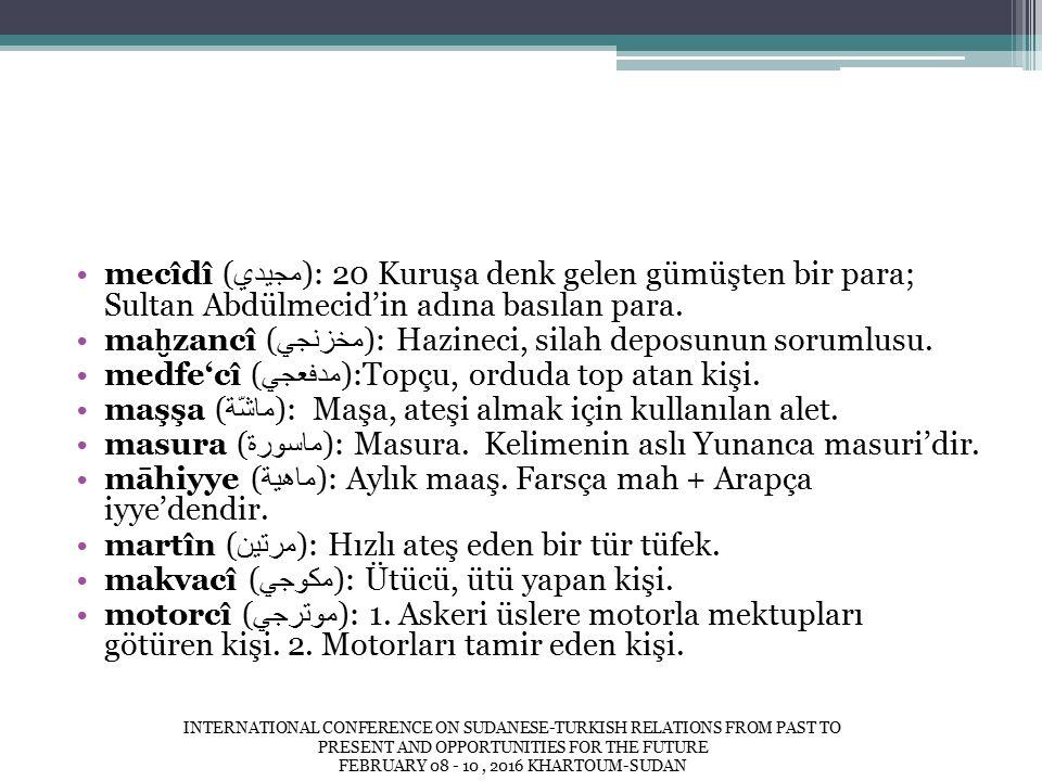 mecîdî ( مجيدي ): 20 Kuruşa denk gelen gümüşten bir para; Sultan Abdülmecid'in adına basılan para.