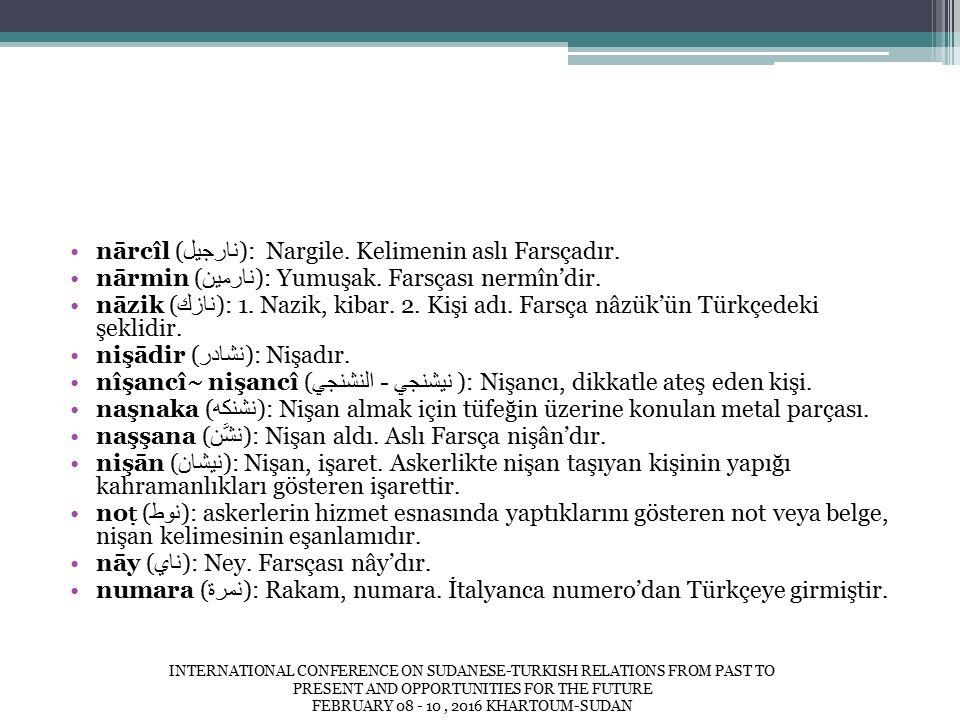 nārcîl ( نارجيل ): Nargile. Kelimenin aslı Farsçadır.