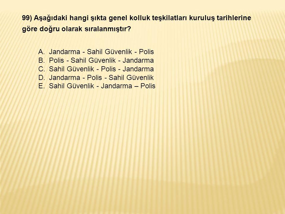 99) Aşağıdaki hangi şıkta genel kolluk teşkilatları kuruluş tarihlerine göre doğru olarak sıralanmıştır.