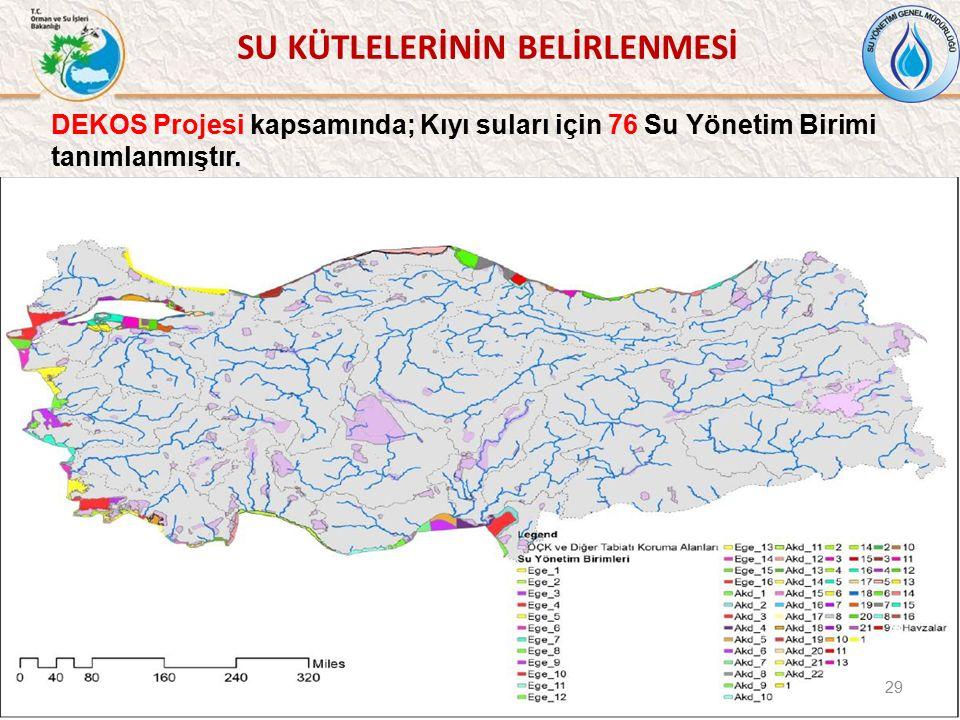 DEKOS Projesi kapsamında; Kıyı suları için 76 Su Yönetim Birimi tanımlanmıştır. 29 SU KÜTLELERİNİN BELİRLENMESİ