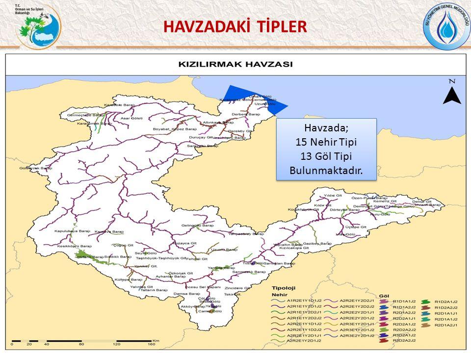 HAVZADAKİ TİPLER 38 Havzada; 15 Nehir Tipi 13 Göl Tipi Bulunmaktadır.