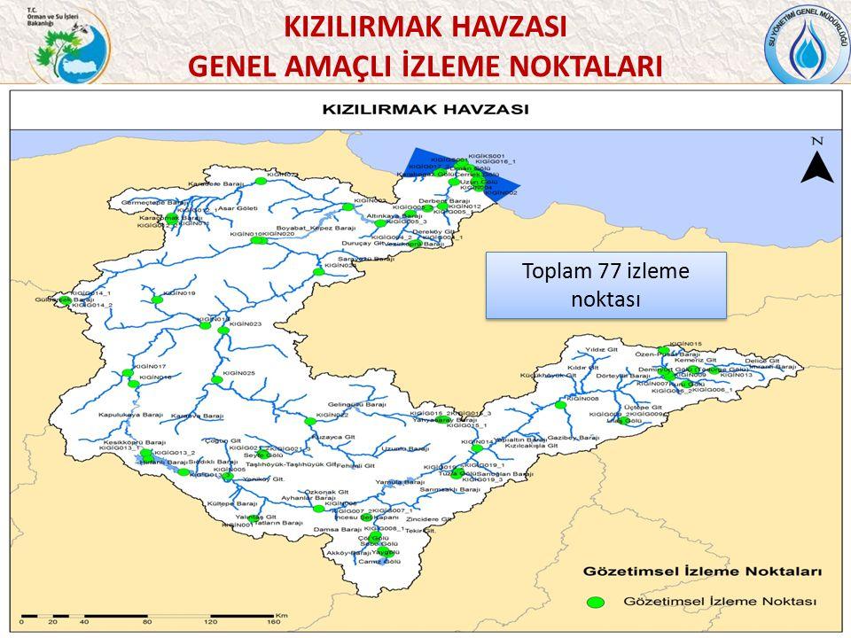 46 Toplam 77 izleme noktası KIZILIRMAK HAVZASI GENEL AMAÇLI İZLEME NOKTALARI