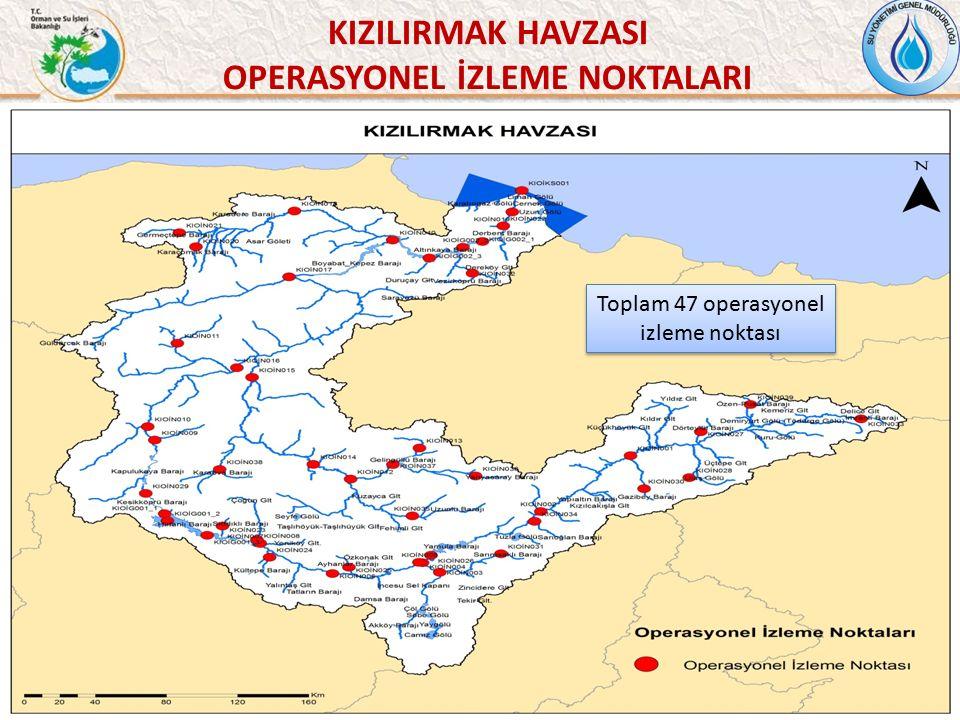 51 KIZILIRMAK HAVZASI OPERASYONEL İZLEME NOKTALARI Toplam 47 operasyonel izleme noktası