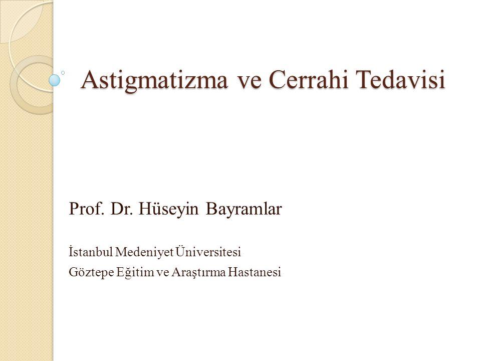 Cerrahinin tetiklediği astigmatizma ölçüm yöntemleri Aritmetik çıkarma: Sadece astigmat büyüklüğünü hesaplar.