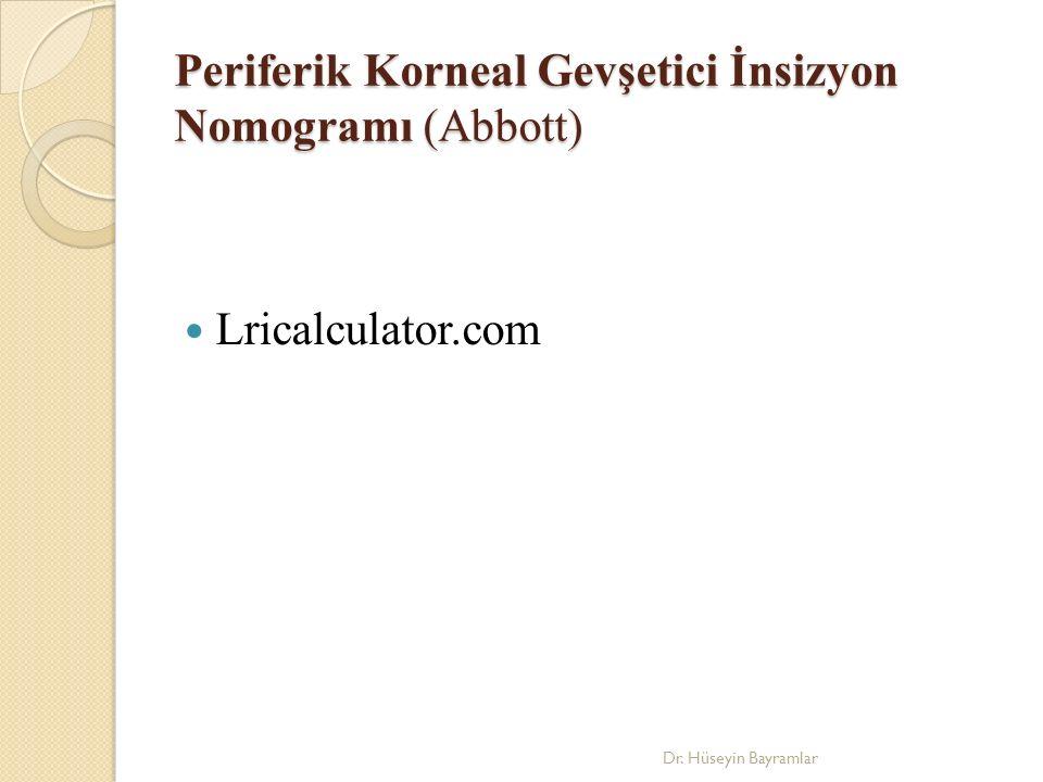 Periferik Korneal Gevşetici İnsizyon Nomogramı (Abbott) Lricalculator.com Dr. Hüseyin Bayramlar