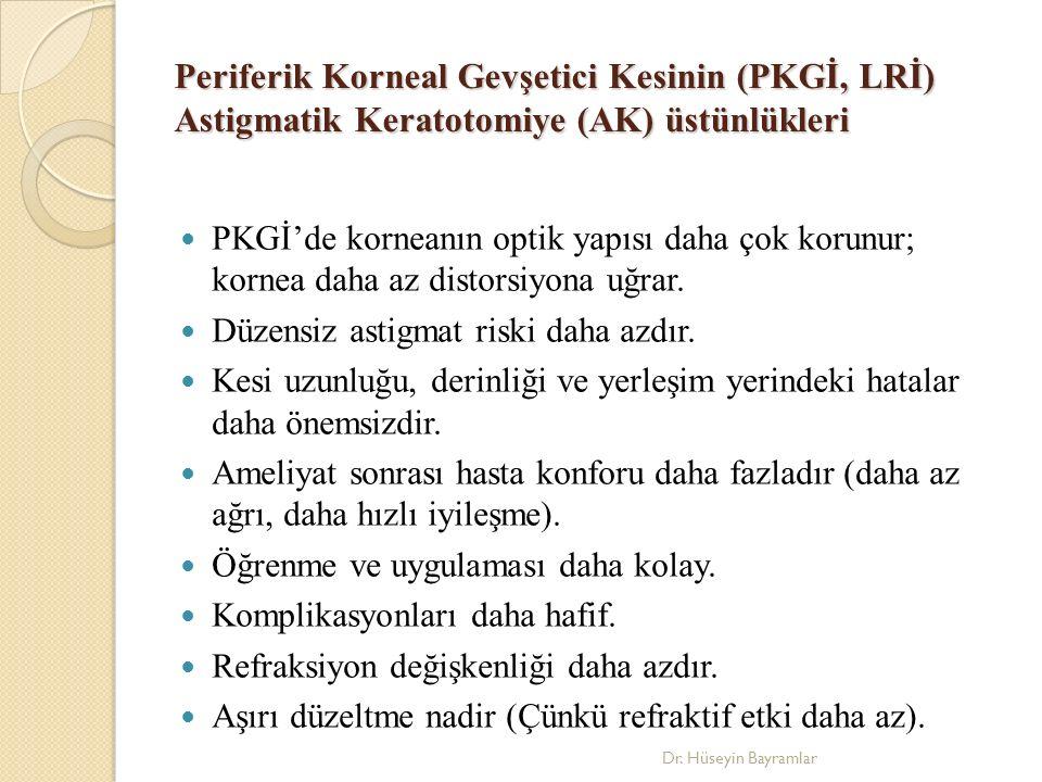 Periferik Korneal Gevşetici Kesinin (PKGİ, LRİ) Astigmatik Keratotomiye (AK) üstünlükleri PKGİ'de korneanın optik yapısı daha çok korunur; kornea daha az distorsiyona uğrar.