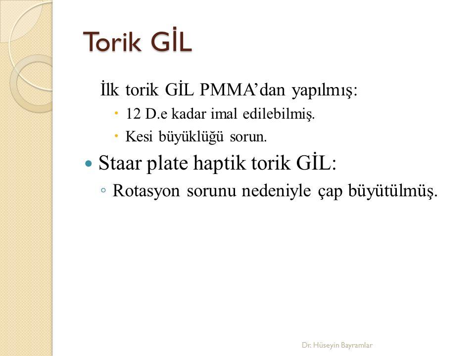 Torik G İ L İlk torik GİL PMMA'dan yapılmış:  12 D.e kadar imal edilebilmiş.