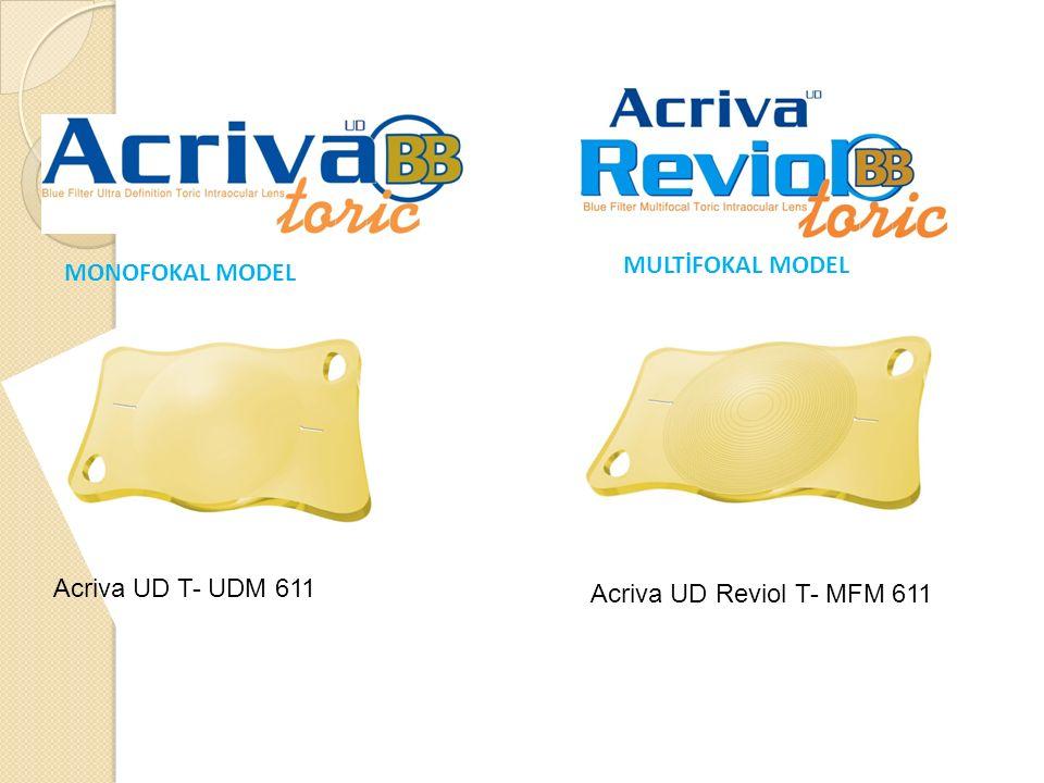 MONOFOKAL MODEL MULTİFOKAL MODEL Acriva UD T- UDM 611 Acriva UD Reviol T- MFM 611