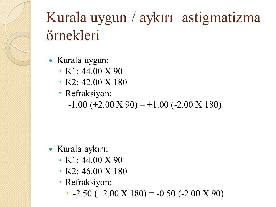 Kurala uygun / aykırı astigmatizma örnekleri Kurala uygun: ◦ K1: 44.00 X 90 ◦ K2: 42.00 X 180 ◦ Refraksiyon: -1.00 (+2.00 X 90) = +1.00 (-2.00 X 180) Kurala aykırı: ◦ K1: 44.00 X 90 ◦ K2: 46.00 X 180 ◦ Refraksiyon:  -2.50 (+2.00 X 180) = -0.50 (-2.00 X 90)