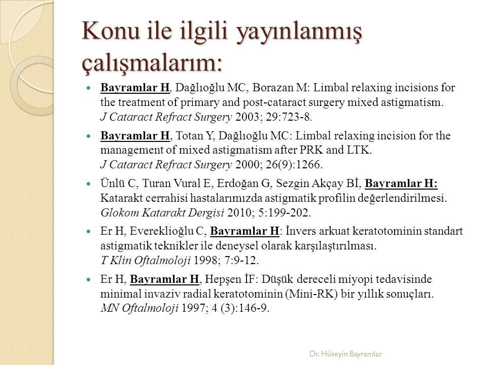 Konu ile ilgili yayınlanmış çalışmalarım: Bayramlar H, Dağlıoğlu MC, Borazan M: Limbal relaxing incisions for the treatment of primary and post-cataract surgery mixed astigmatism.