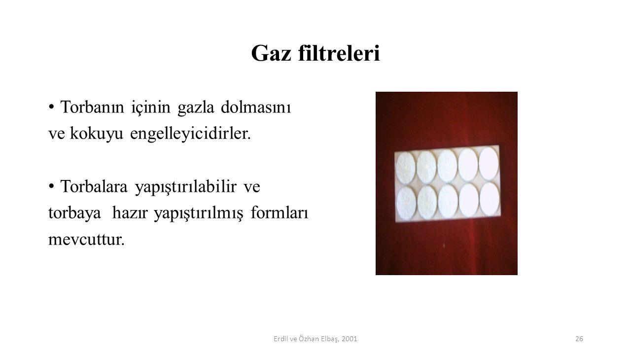 Gaz filtreleri Torbanın içinin gazla dolmasını ve kokuyu engelleyicidirler. Torbalara yapıştırılabilir ve torbaya hazır yapıştırılmış formları mevcutt