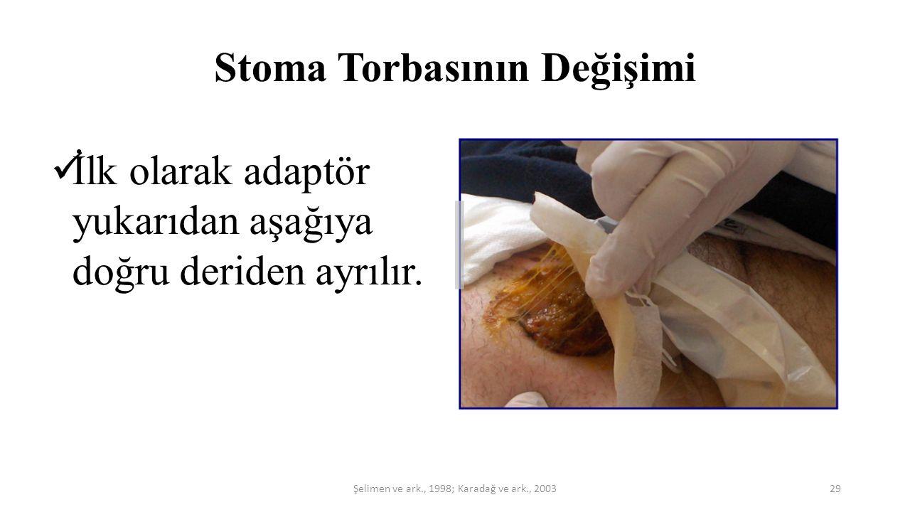 Stoma Torbasının Değişimi İlk olarak adaptör yukarıdan aşağıya doğru deriden ayrılır. 29Şelimen ve ark., 1998; Karadağ ve ark., 2003