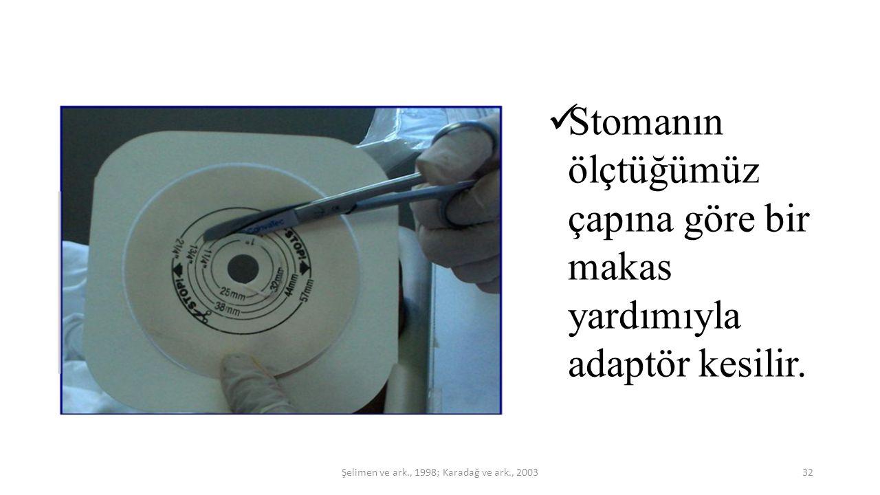 Stomanın ölçtüğümüz çapına göre bir makas yardımıyla adaptör kesilir. 32Şelimen ve ark., 1998; Karadağ ve ark., 2003