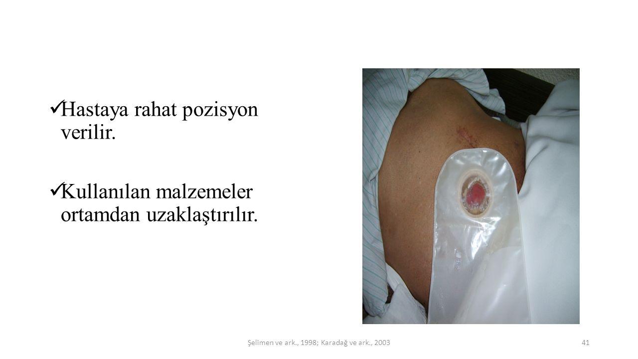 Hastaya rahat pozisyon verilir. Kullanılan malzemeler ortamdan uzaklaştırılır. 41Şelimen ve ark., 1998; Karadağ ve ark., 2003