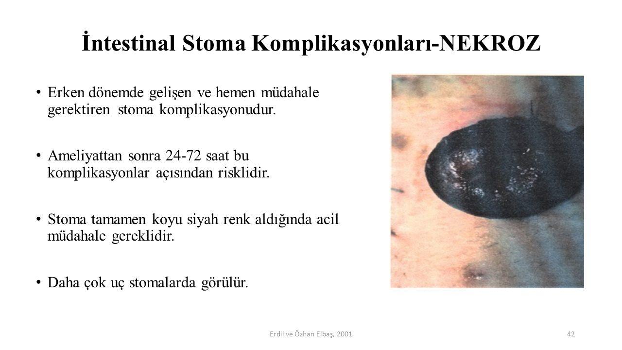 İntestinal Stoma Komplikasyonları-NEKROZ Erken dönemde gelişen ve hemen müdahale gerektiren stoma komplikasyonudur. Ameliyattan sonra 24-72 saat bu ko