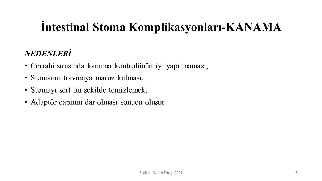 İntestinal Stoma Komplikasyonları-KANAMA NEDENLERİ Cerrahi sırasında kanama kontrolünün iyi yapılmaması, Stomanın travmaya maruz kalması, Stomayı sert
