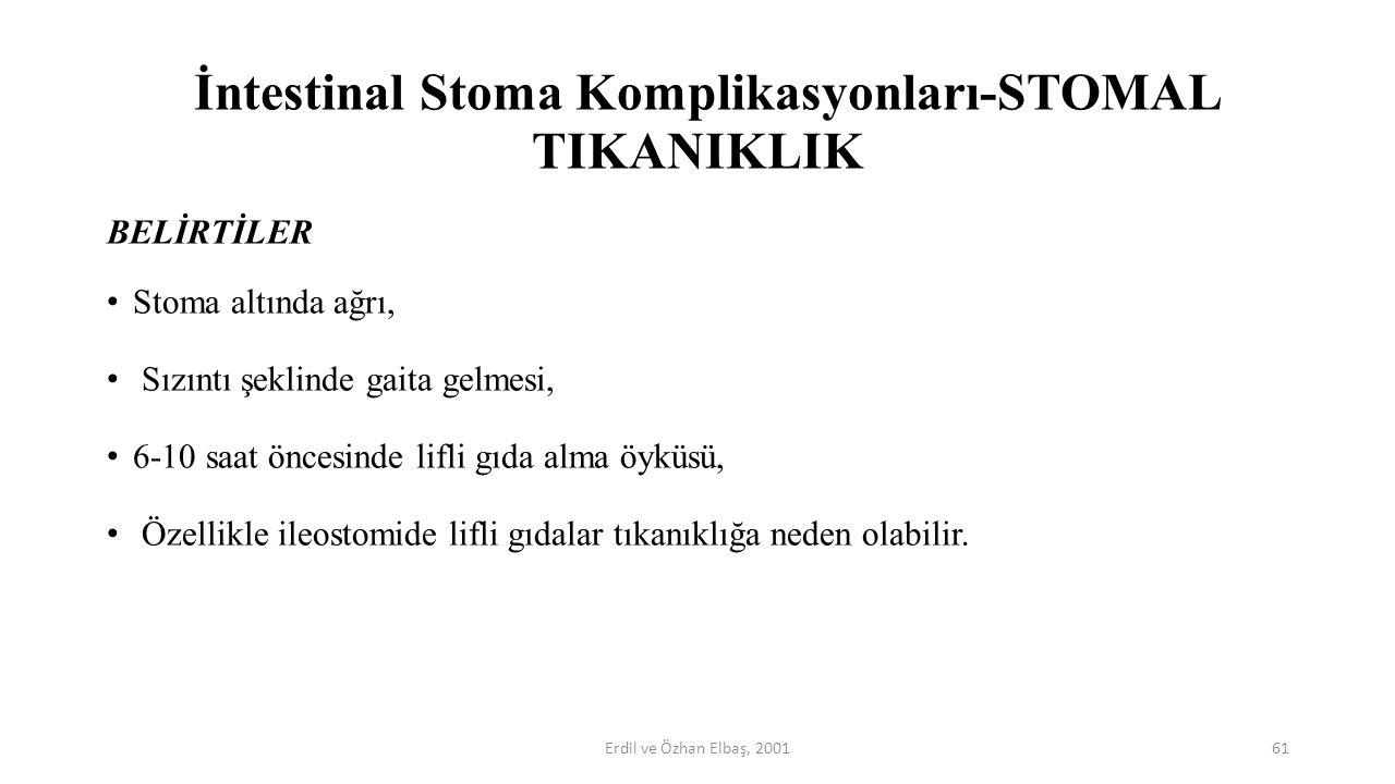 İntestinal Stoma Komplikasyonları-STOMAL TIKANIKLIK BELİRTİLER Stoma altında ağrı, Sızıntı şeklinde gaita gelmesi, 6-10 saat öncesinde lifli gıda alma