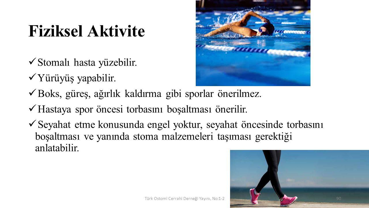 Fiziksel Aktivite Stomalı hasta yüzebilir. Yürüyüş yapabilir. Boks, güreş, ağırlık kaldırma gibi sporlar önerilmez. Hastaya spor öncesi torbasını boşa