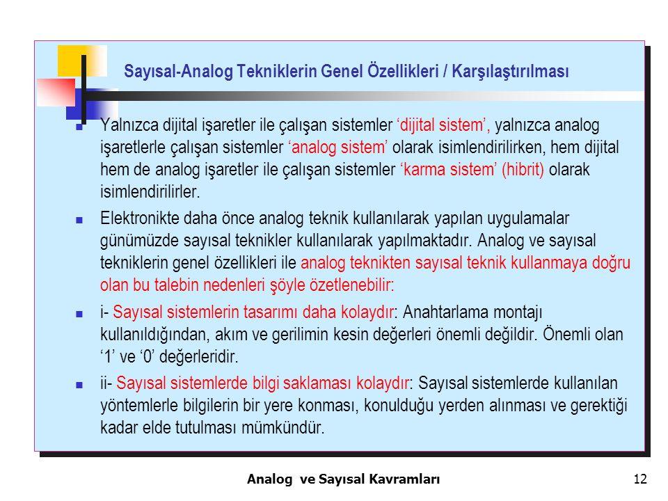 12 Sayısal-Analog Tekniklerin Genel Özellikleri / Karşılaştırılması Yalnızca dijital işaretler ile çalışan sistemler 'dijital sistem', yalnızca analog